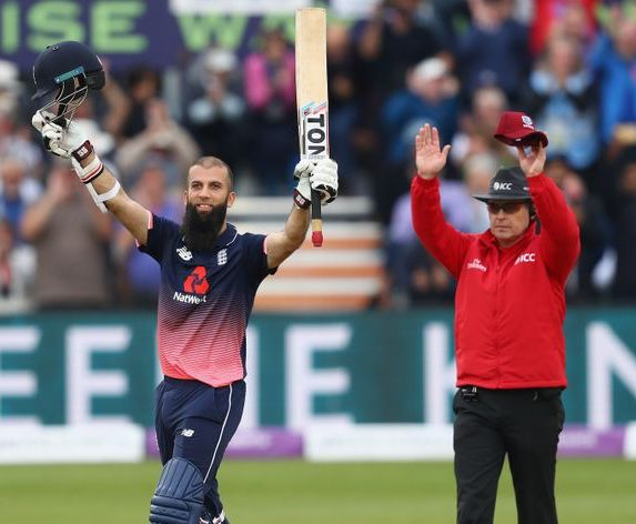 Mooen Ali scores 102 for England against West Indies at Bristol, 24 September 2017